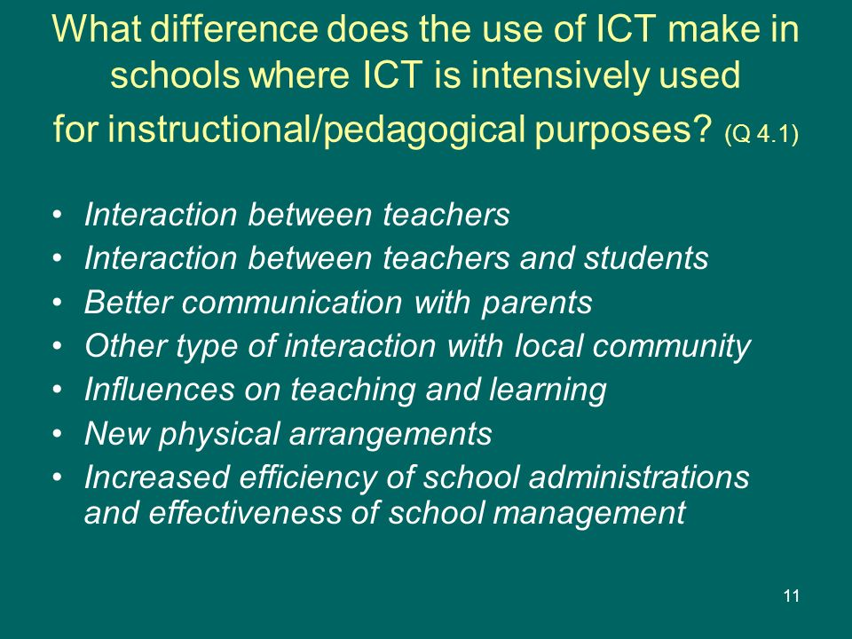 What difference does the use of ICT make in schools where ICT is intensively used for instructional/pedagogical purposes (Q 4.1)