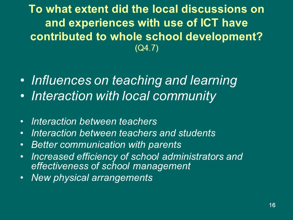 Influences on teaching and learning Interaction with local community