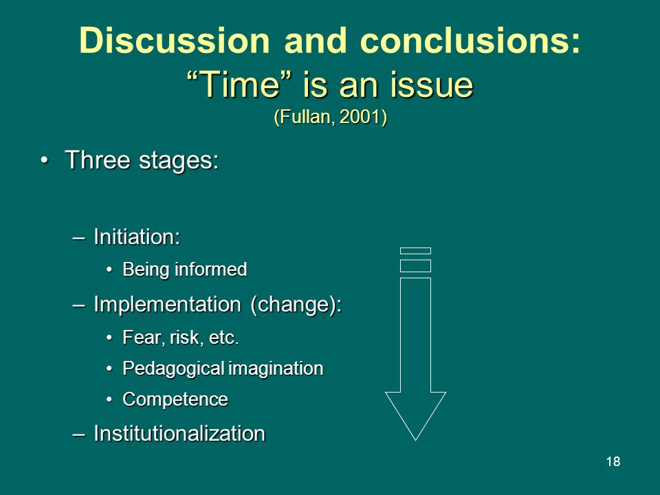 Discussion and conclusions: Time is an issue (Fullan, 2001)