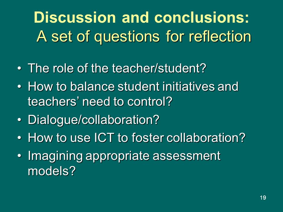 Discussion and conclusions: A set of questions for reflection