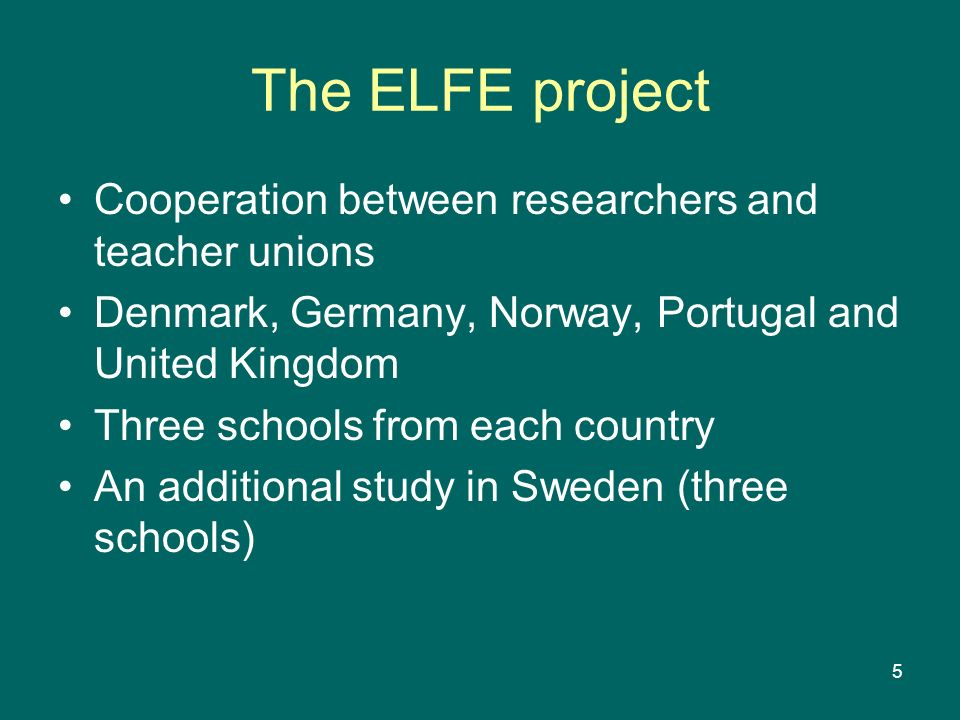 The ELFE project Cooperation between researchers and teacher unions
