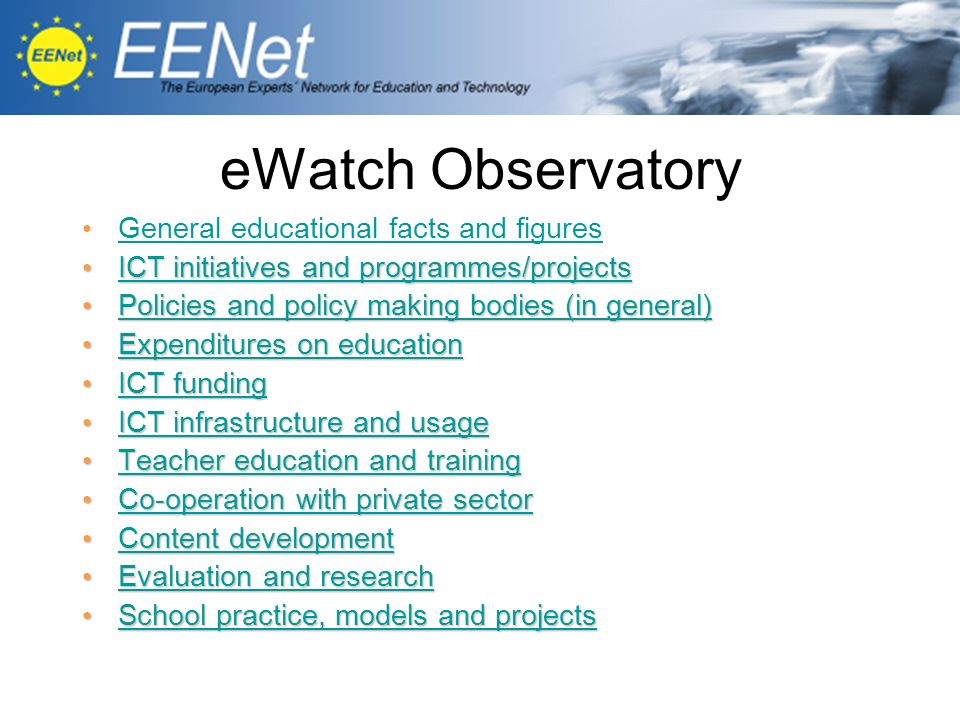 eWatch Observatory General educational facts and figures