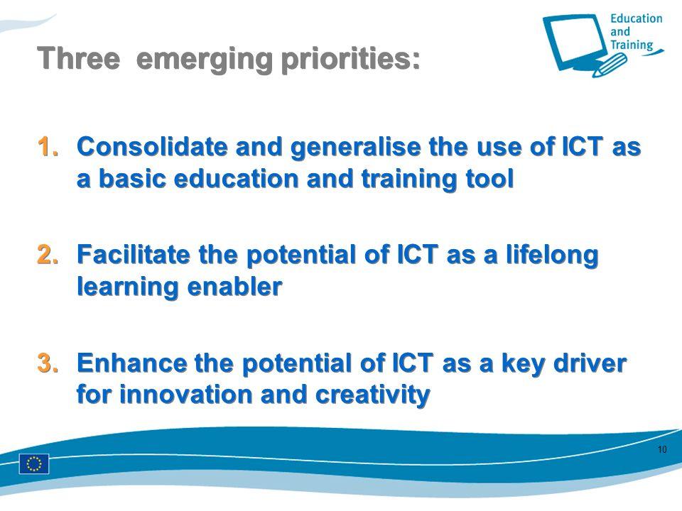 Three emerging priorities: