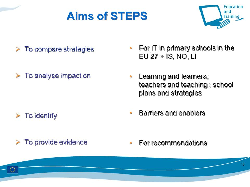 Aims of STEPS For IT in primary schools in the EU 27 + IS, NO, LI