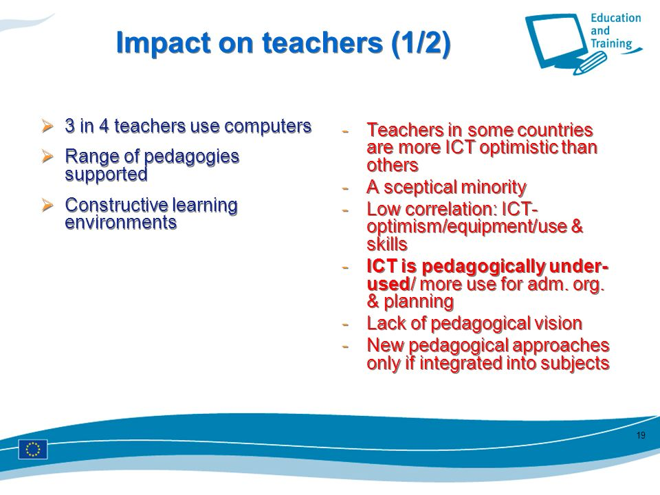 Impact on teachers (1/2) Teachers in some countries are more ICT optimistic than others. A sceptical minority.
