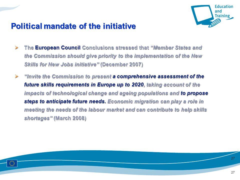 Political mandate of the initiative
