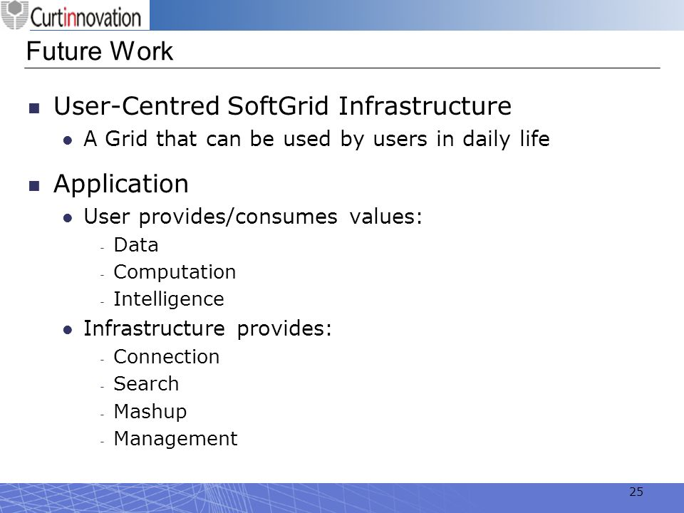 Future Work User-Centred SoftGrid Infrastructure Application