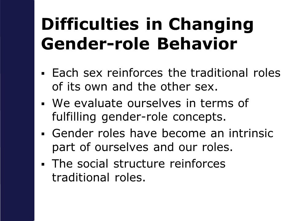 Difficulties in Changing Gender-role Behavior