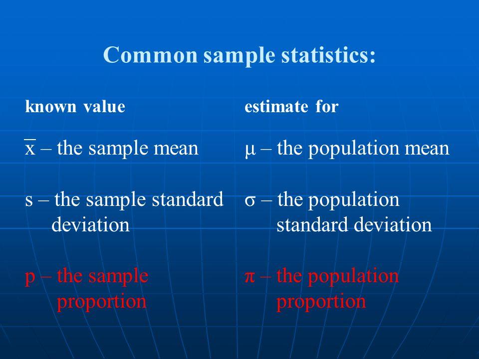Common sample statistics: