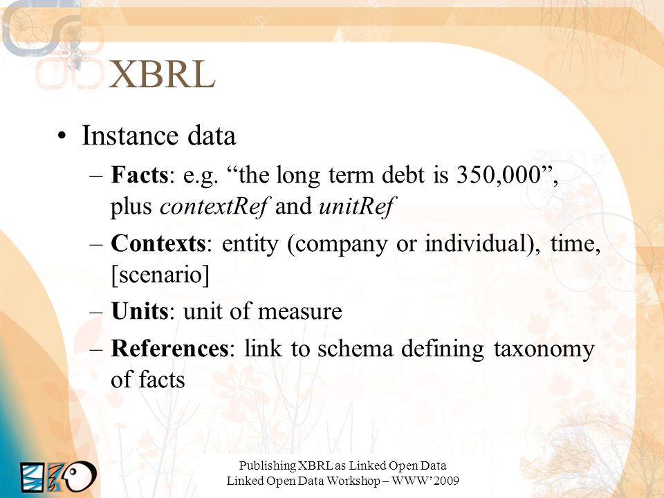 XBRL Instance data. Facts: e.g. the long term debt is 350,000 , plus contextRef and unitRef.