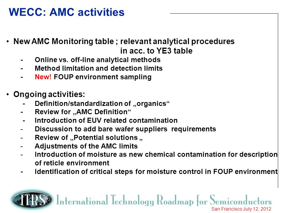 WECC: AMC activities New AMC Monitoring table ; relevant analytical procedures. in acc. to YE3 table.