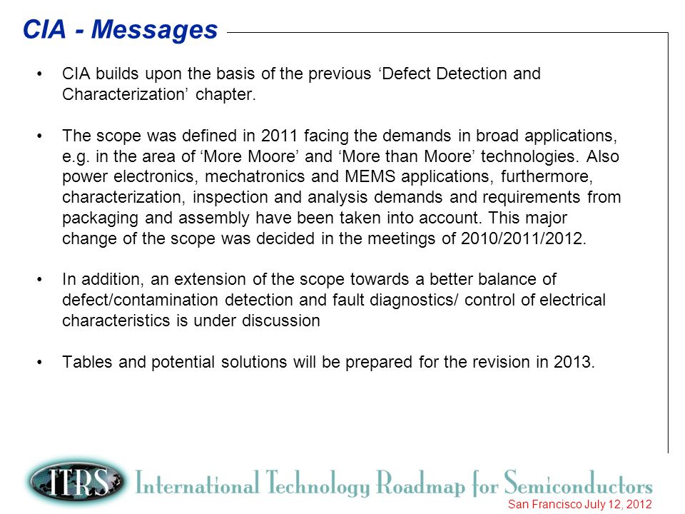 CIA - Messages CIA builds upon the basis of the previous 'Defect Detection and Characterization' chapter.
