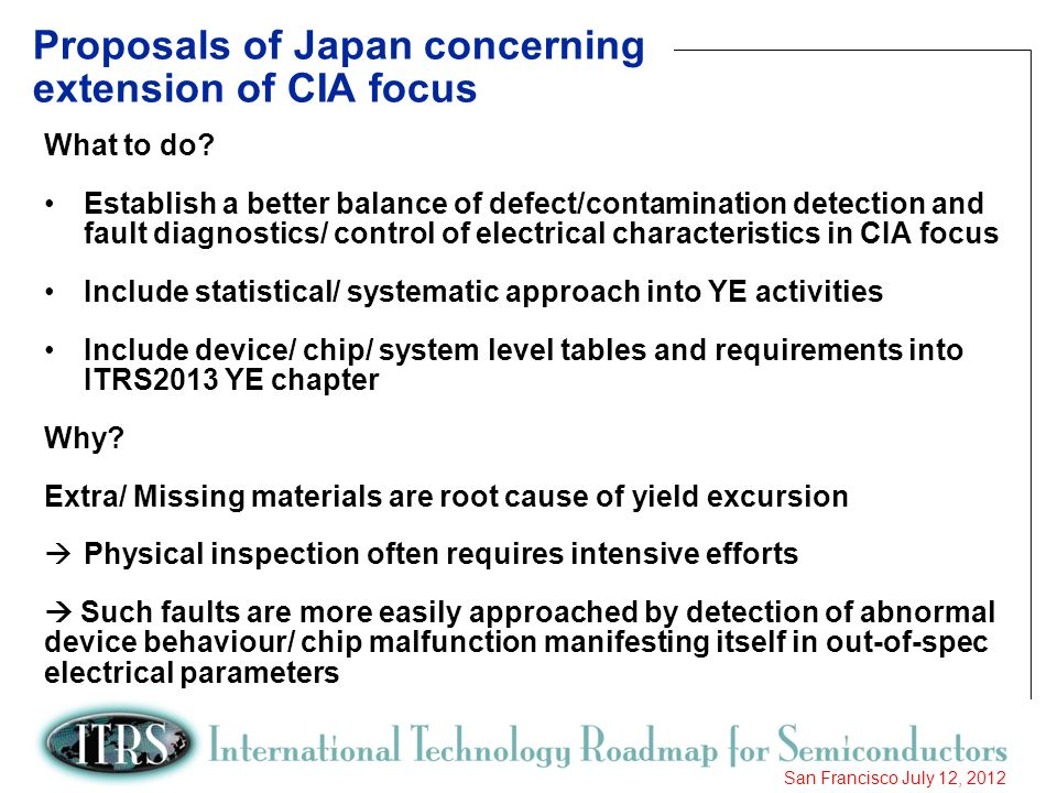 Proposals of Japan concerning extension of CIA focus