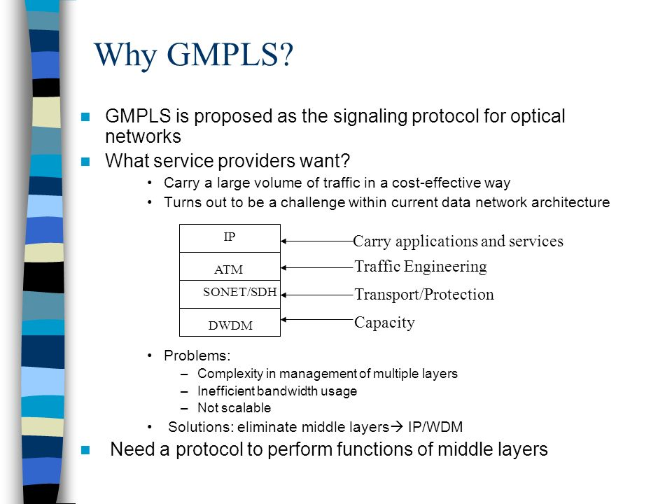 Why GMPLS GMPLS is proposed as the signaling protocol for optical networks. What service providers want