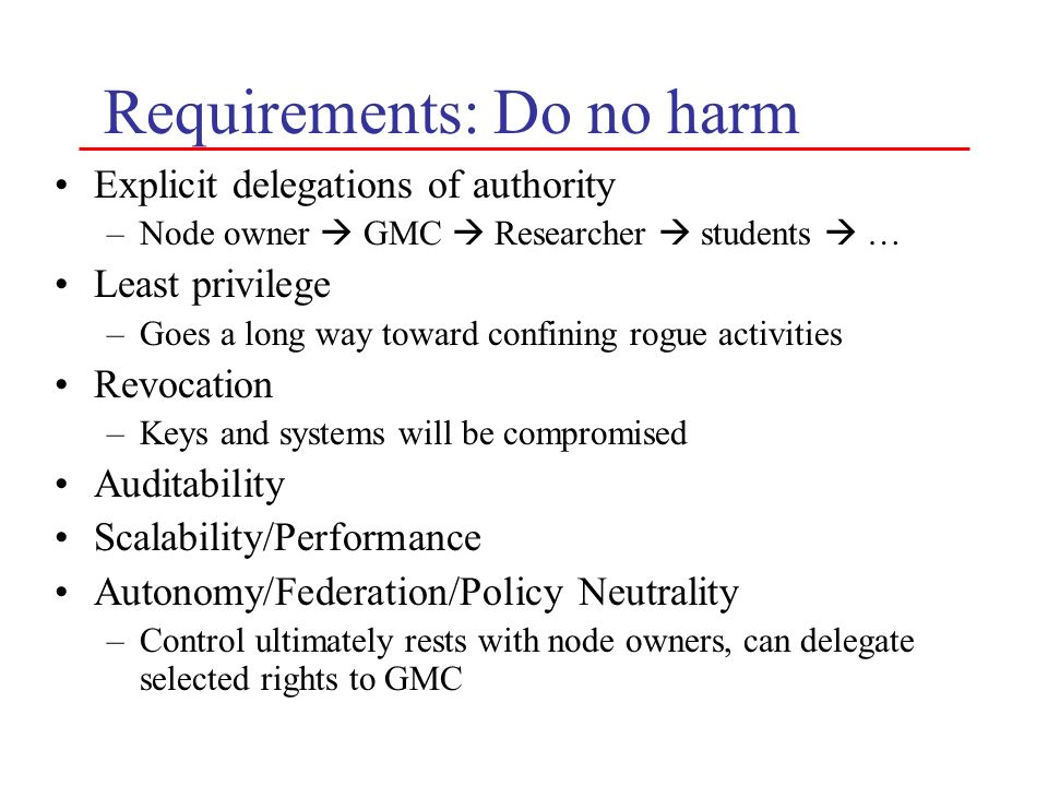 Requirements: Do no harm