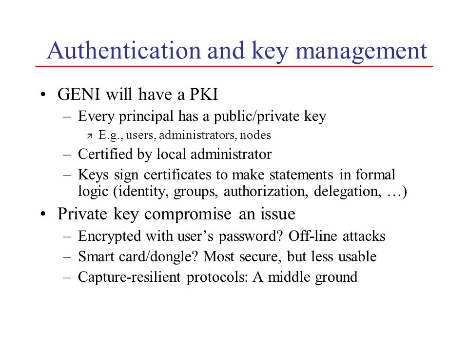 Authentication and key management