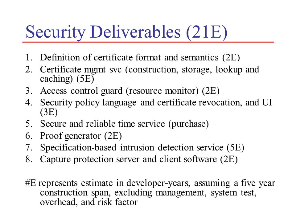Security Deliverables (21E)