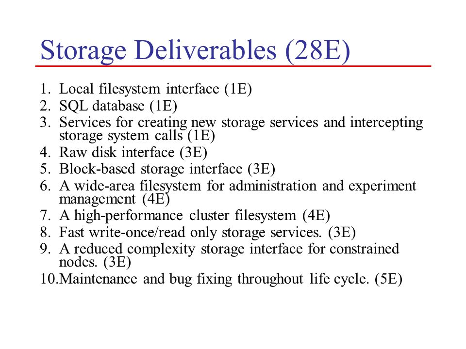 Storage Deliverables (28E)