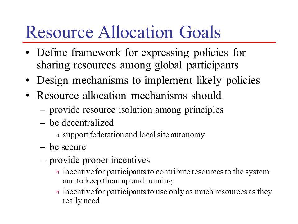 Resource Allocation Goals