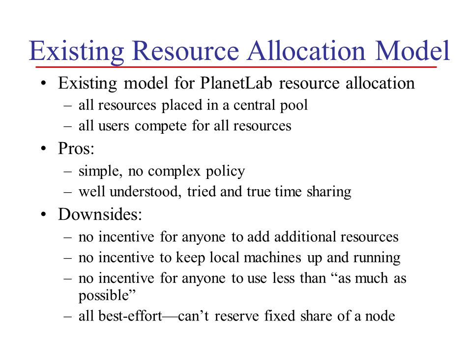 Existing Resource Allocation Model