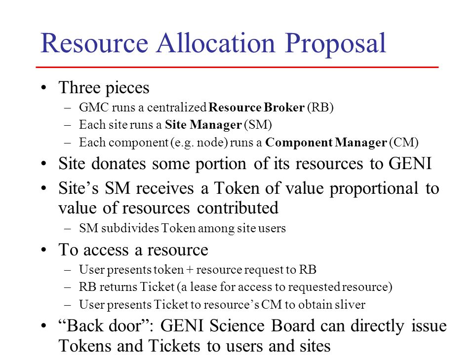 Resource Allocation Proposal