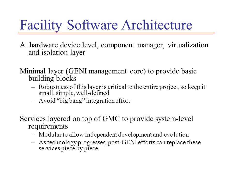 Facility Software Architecture