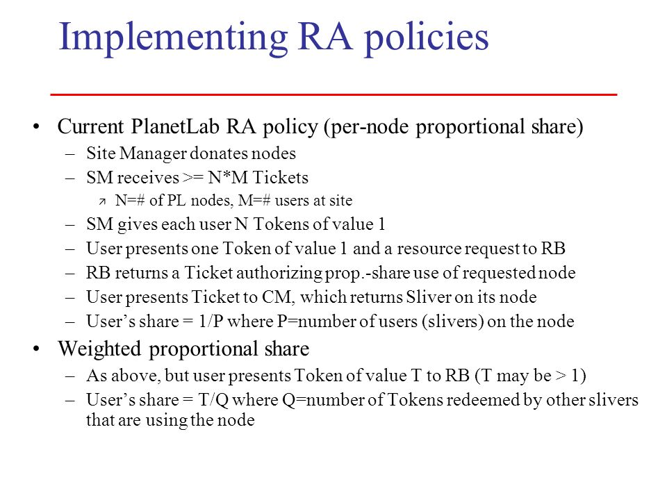 Implementing RA policies
