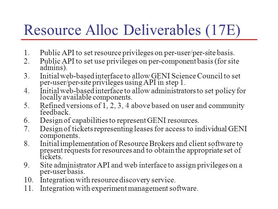 Resource Alloc Deliverables (17E)