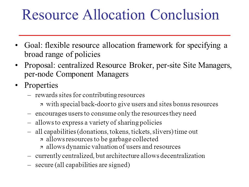 Resource Allocation Conclusion