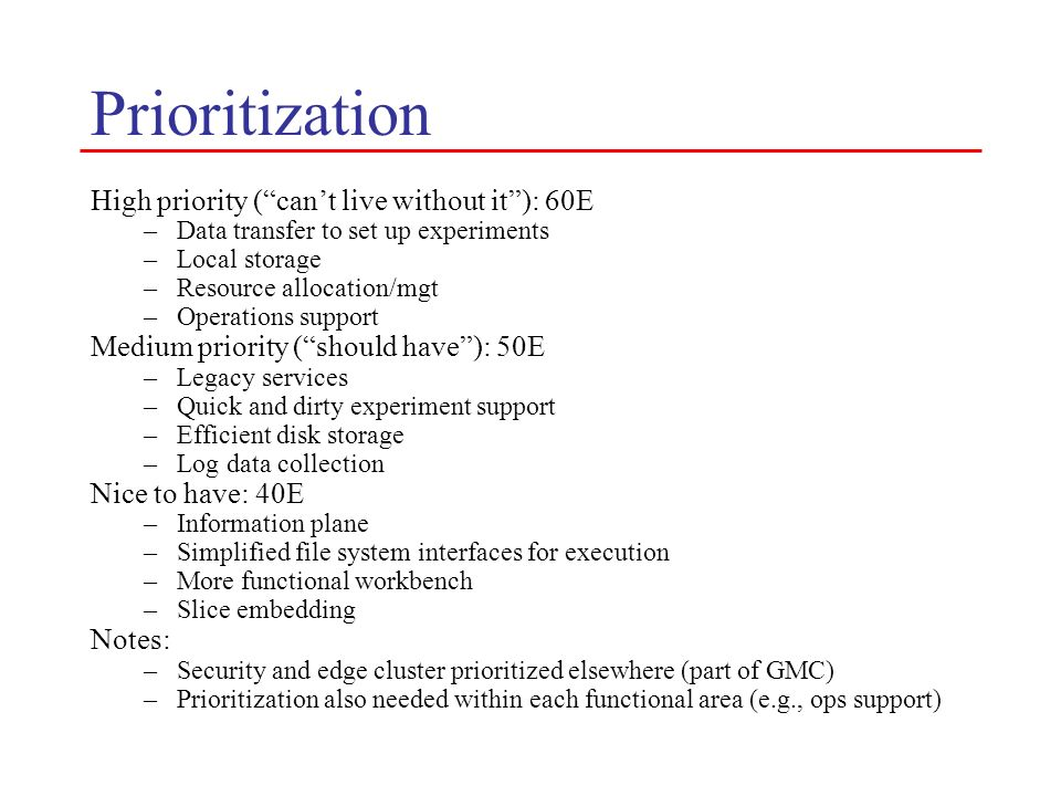 Prioritization High priority ( can't live without it ): 60E