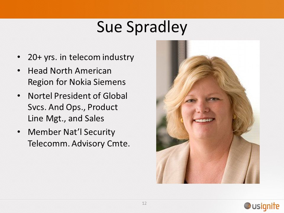 Sue Spradley 20+ yrs. in telecom industry