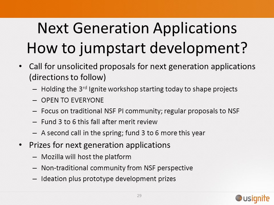 Next Generation Applications How to jumpstart development