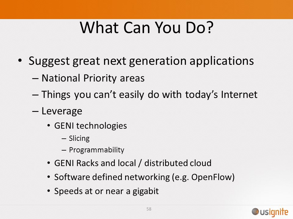 What Can You Do Suggest great next generation applications