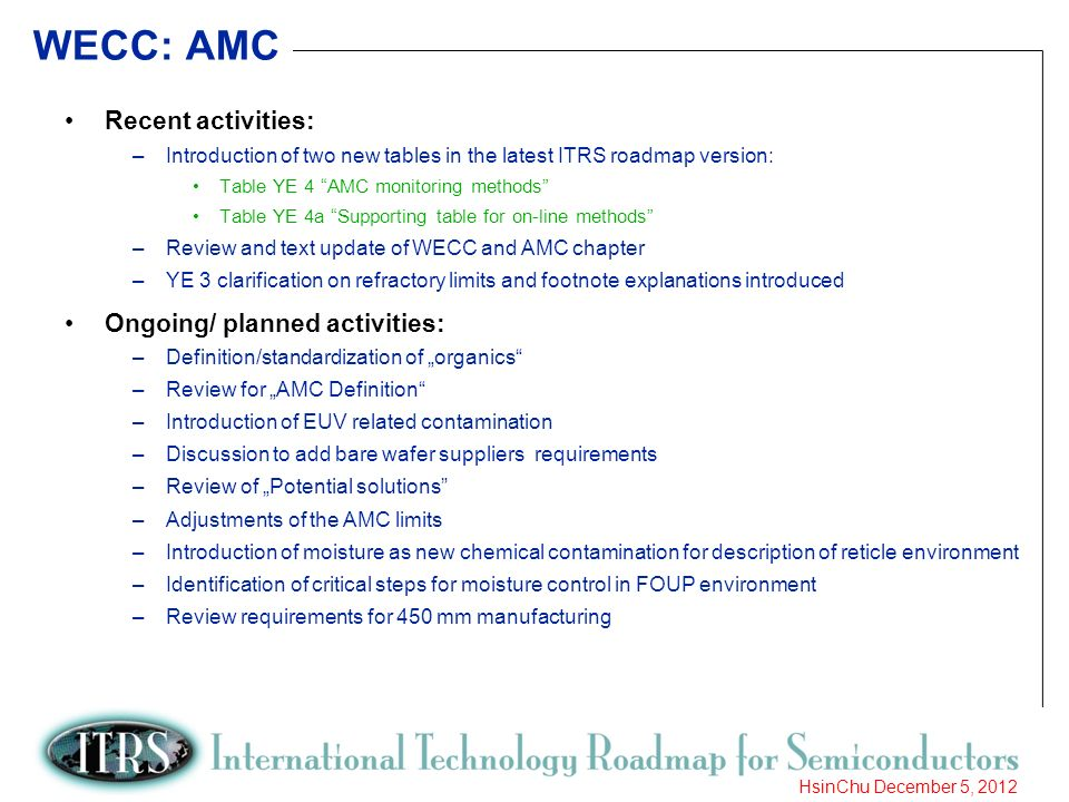 WECC: AMC Recent activities: Ongoing/ planned activities: