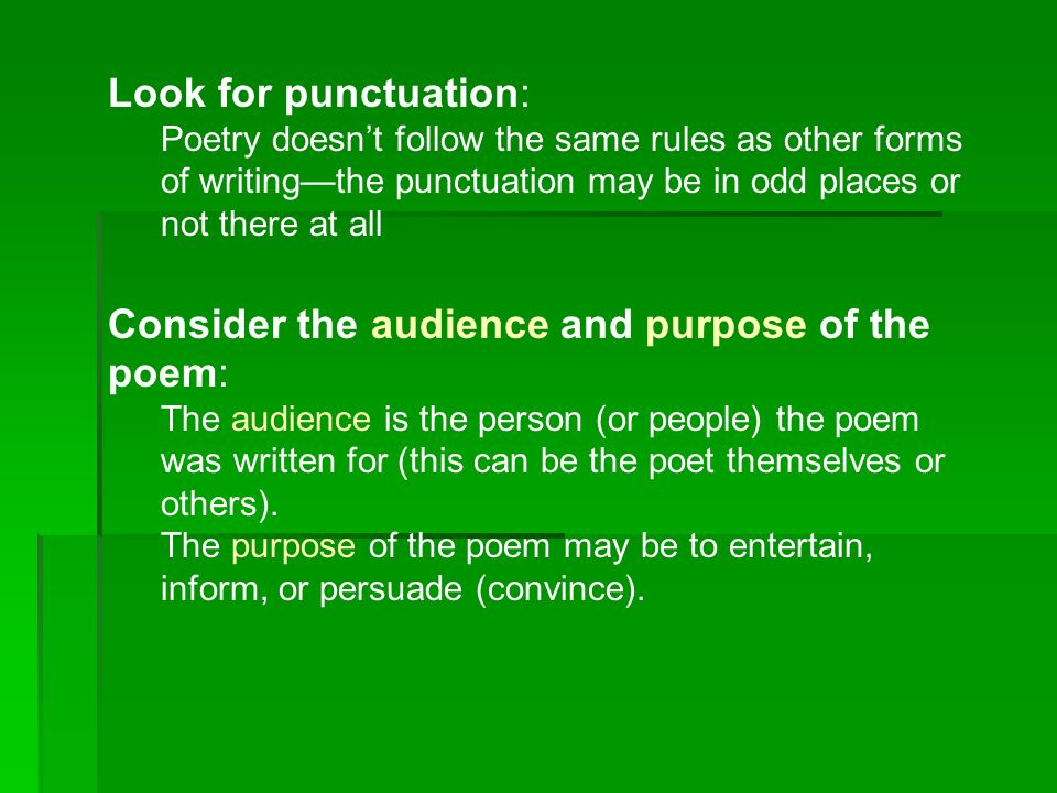Consider the audience and purpose of the poem: