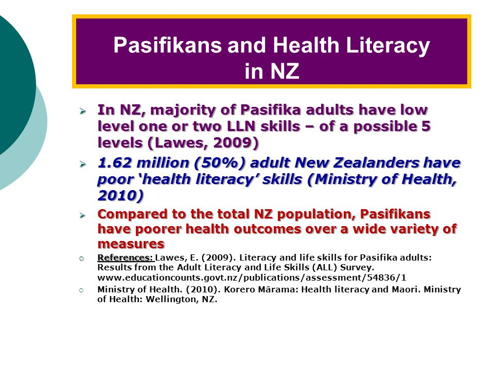 Pasifikans and Health Literacy in NZ