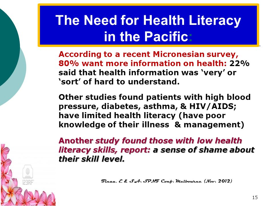 The Need for Health Literacy in the Pacific:
