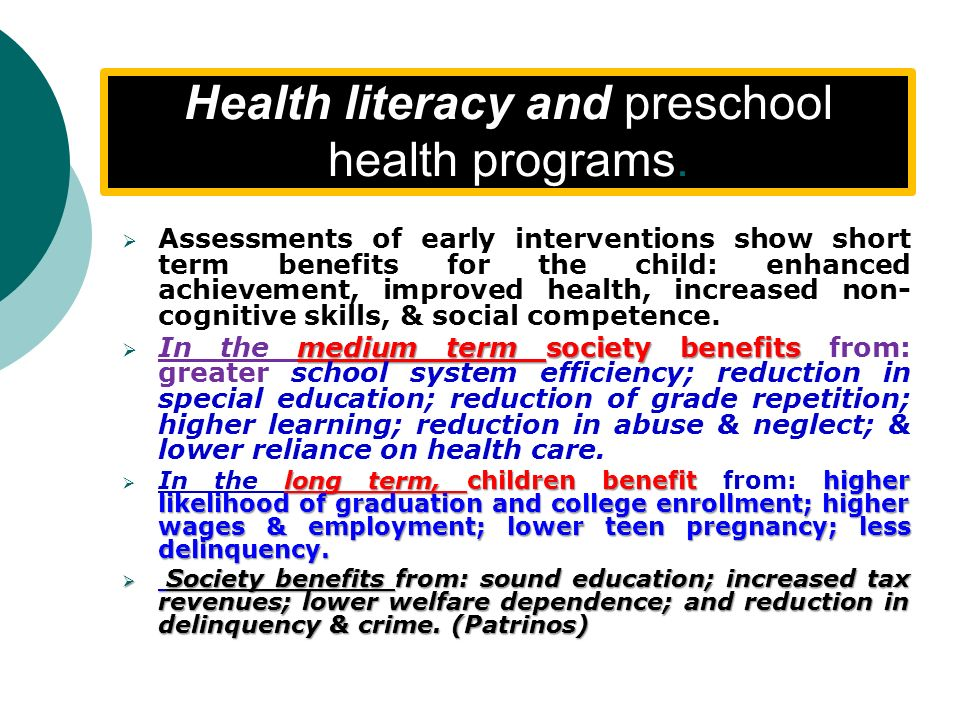 Health literacy and preschool health programs.