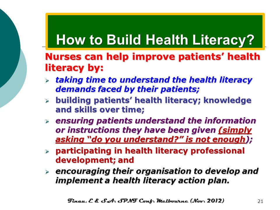 How to Build Health Literacy