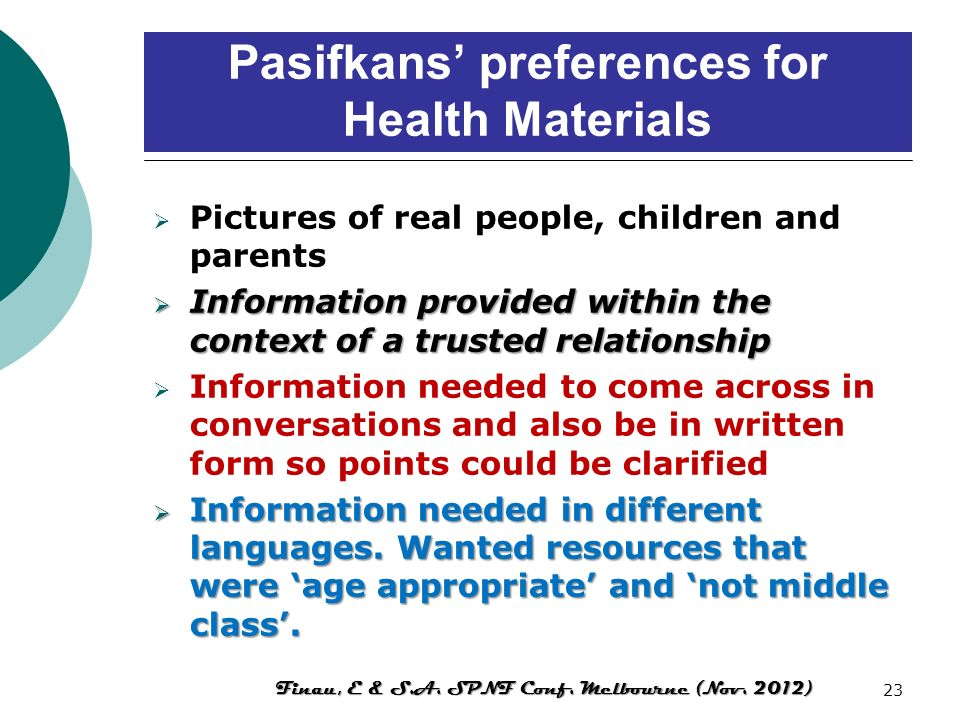 Pasifkans' preferences for Health Materials