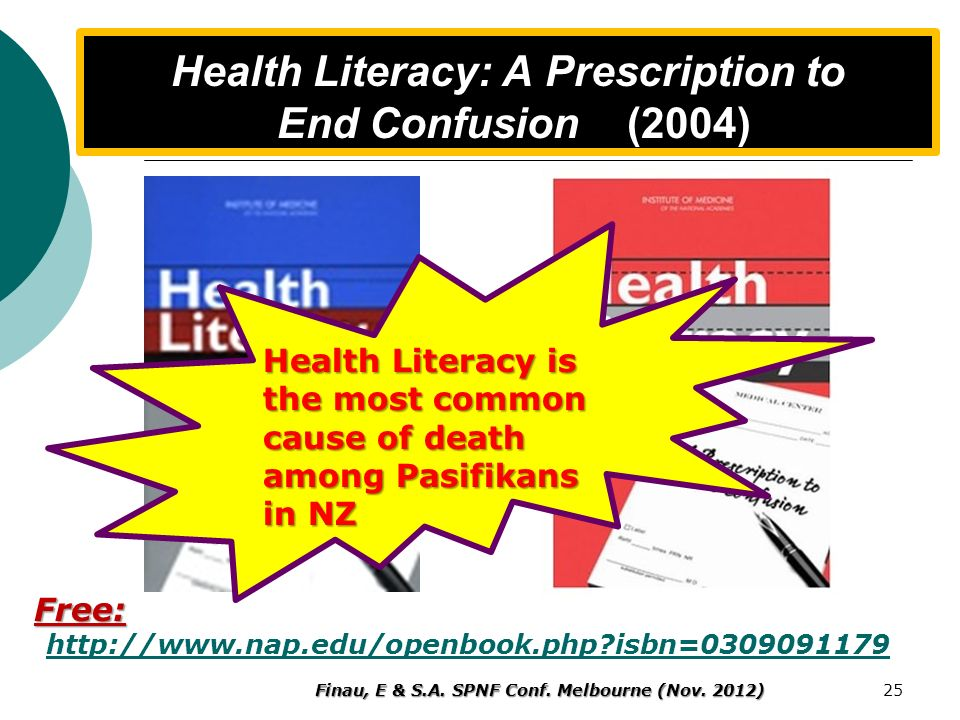 Health Literacy: A Prescription to End Confusion (2004)