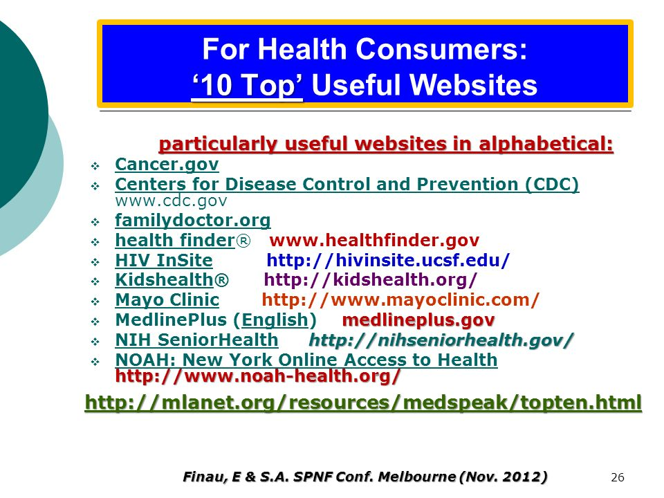 For Health Consumers: '10 Top' Useful Websites