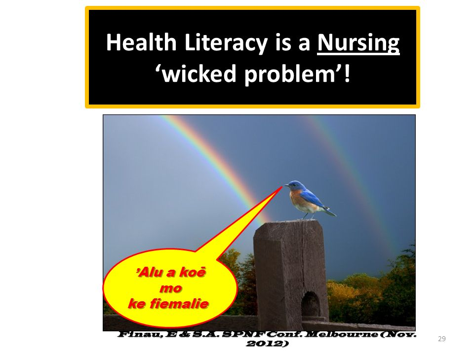 Health Literacy is a Nursing 'wicked problem'!