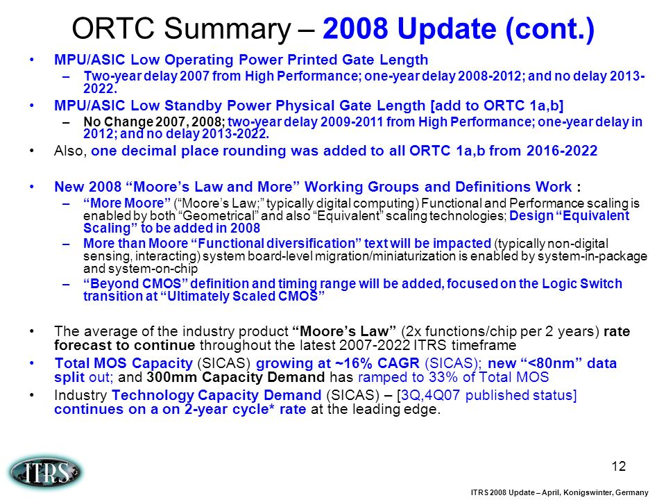 ORTC Summary – 2008 Update (cont.)