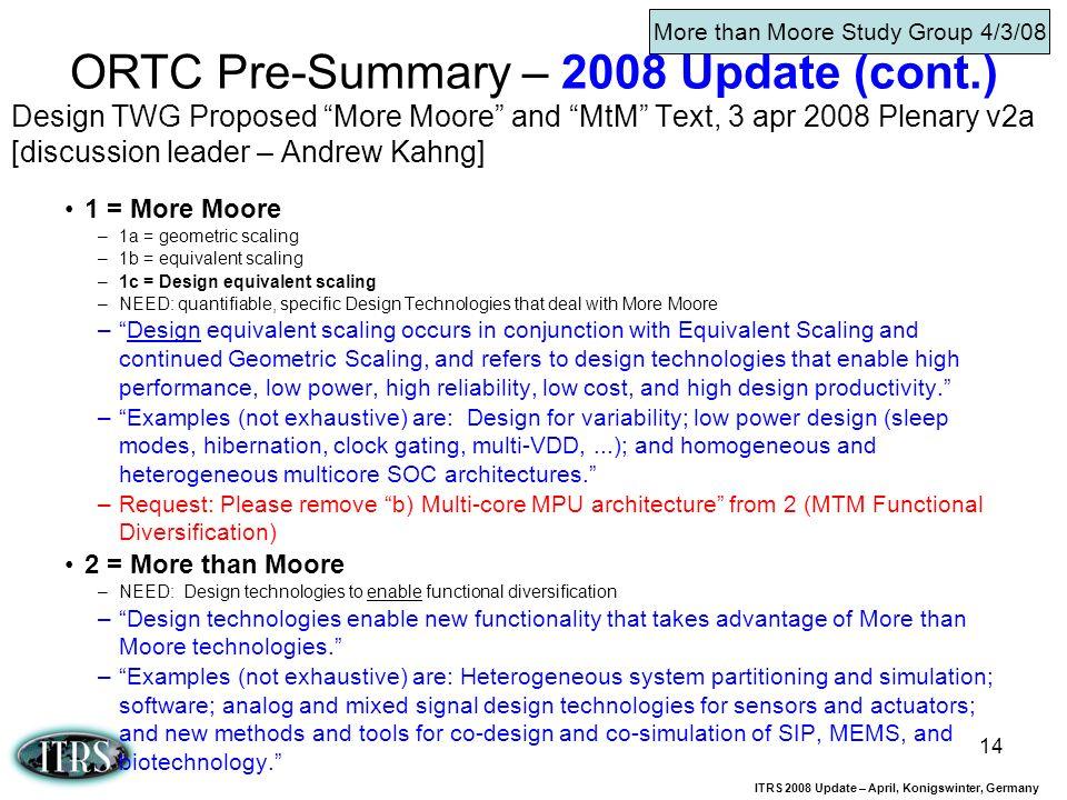 ORTC Pre-Summary – 2008 Update (cont.)