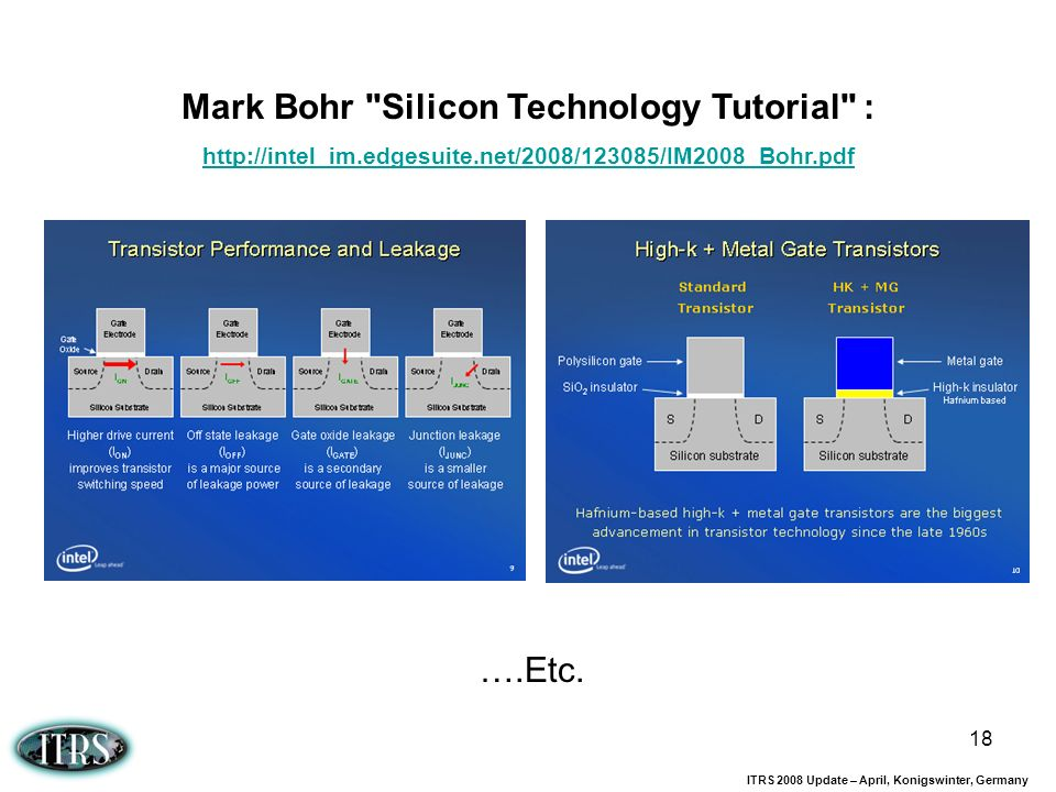 Mark Bohr Silicon Technology Tutorial :