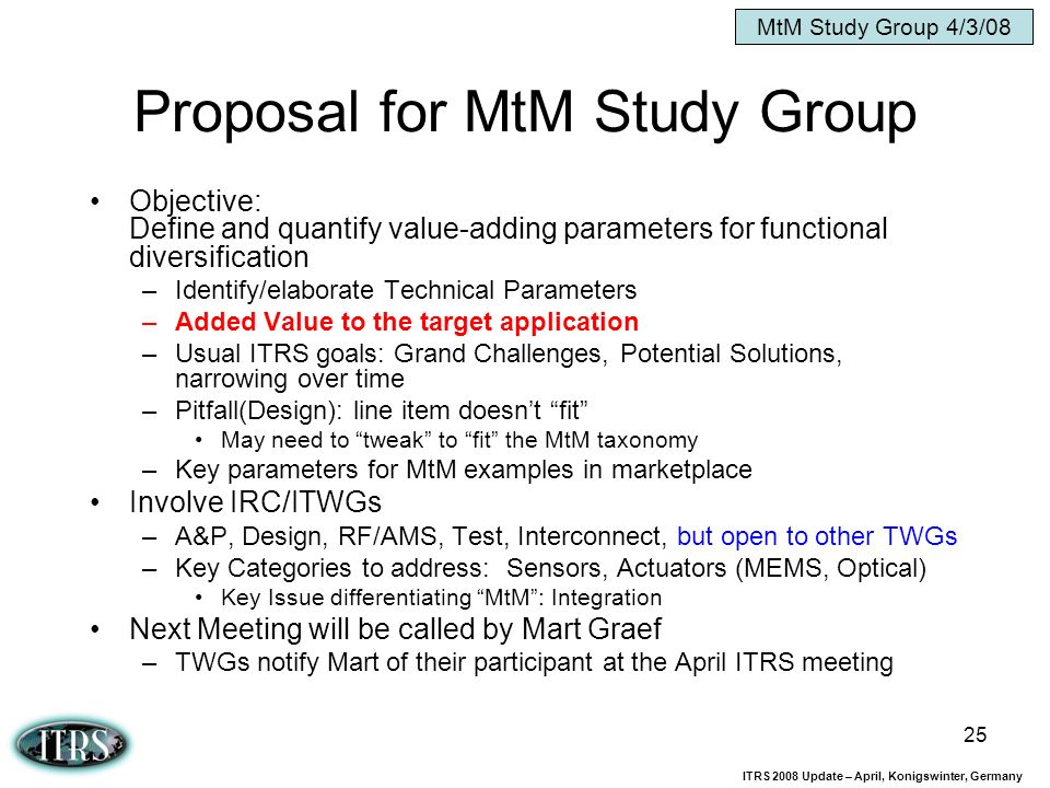 Proposal for MtM Study Group