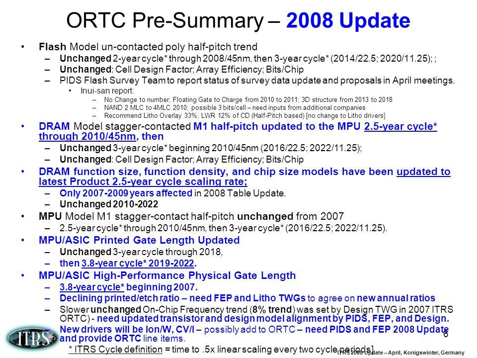 ORTC Pre-Summary – 2008 Update