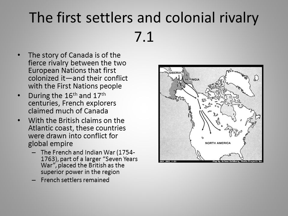 The first settlers and colonial rivalry 7.1