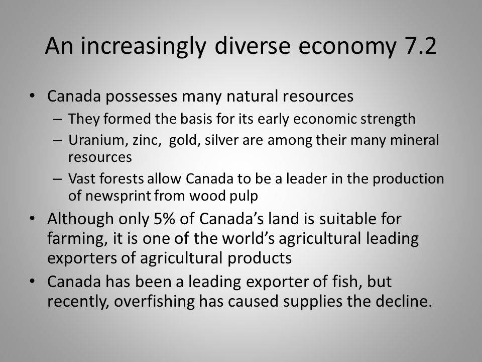 An increasingly diverse economy 7.2
